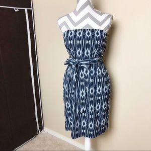 Athleta Strapless Ikat Anywhere Dress Blue White 4